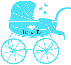 Baby Boy Clipart Image - Baby Shower Graphic of Stroller or Baby ...