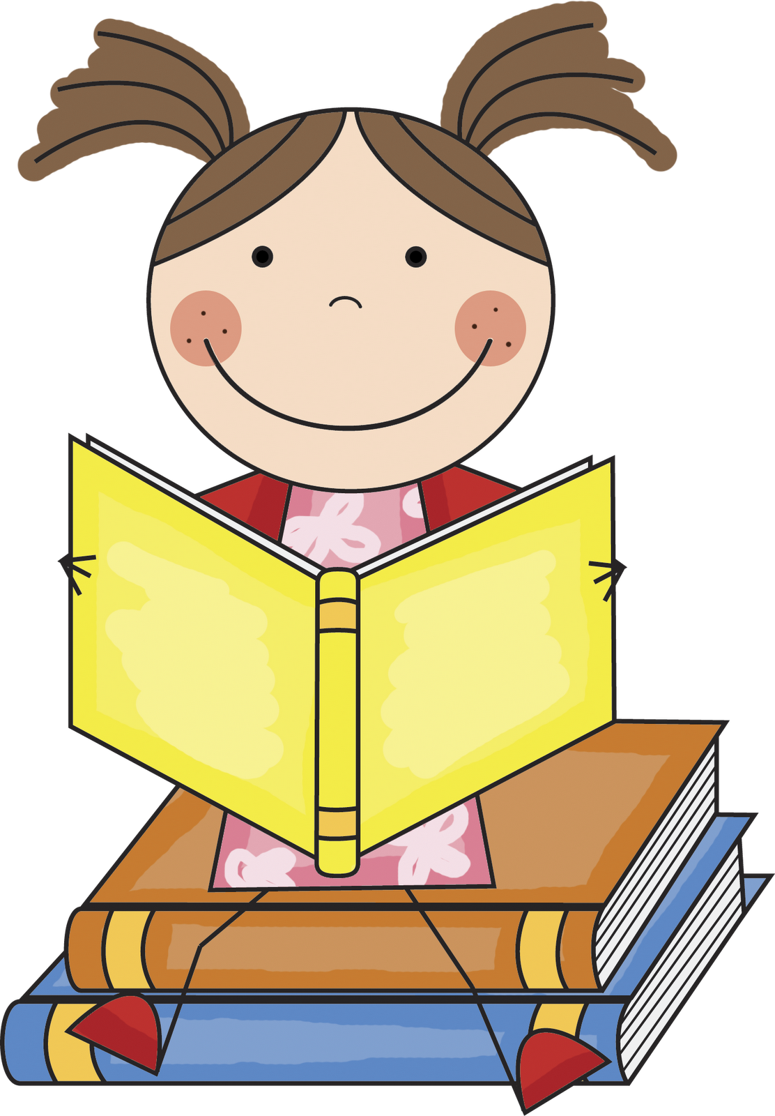 Child reading clipart