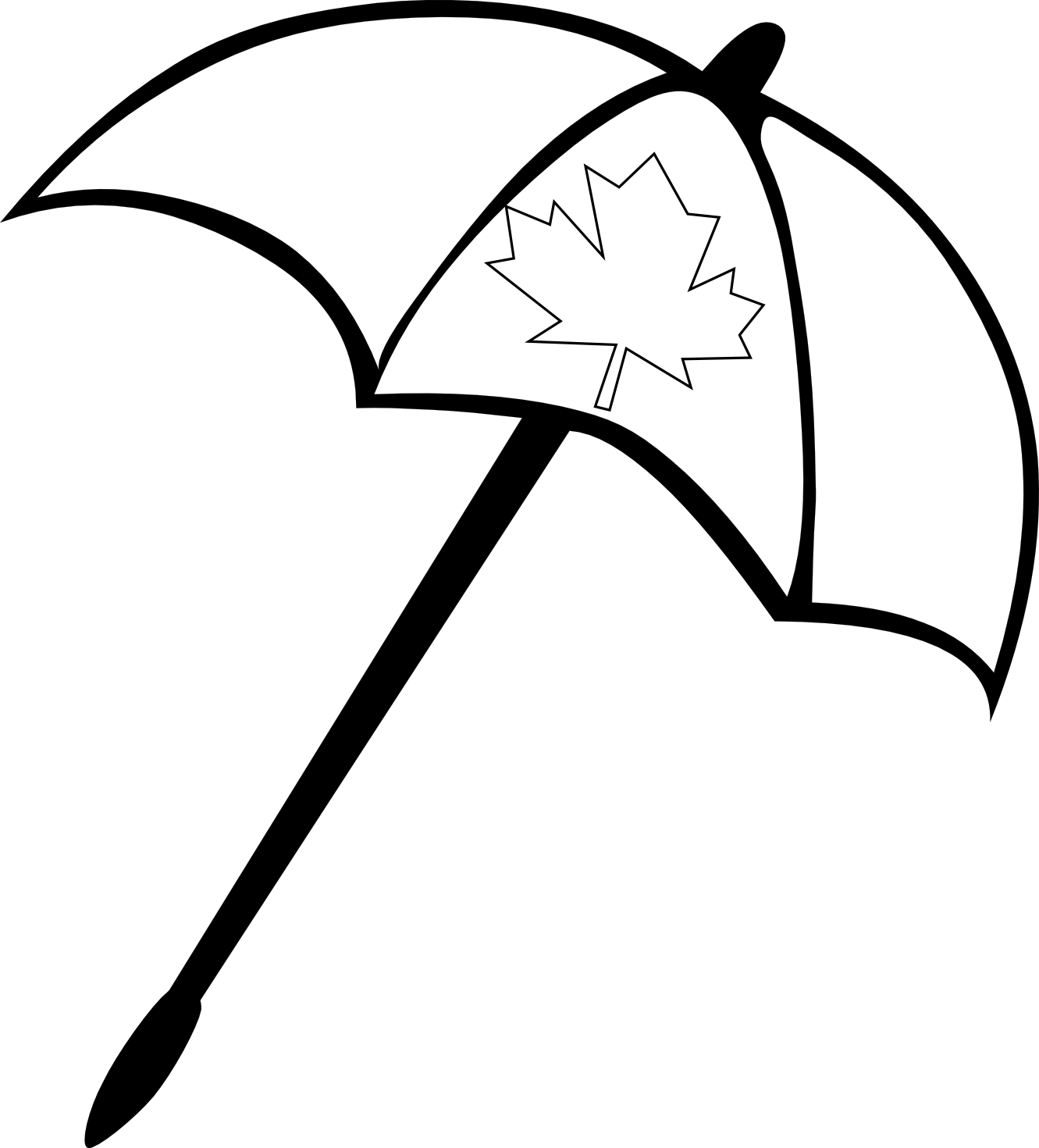 Black and white umbrella clipart