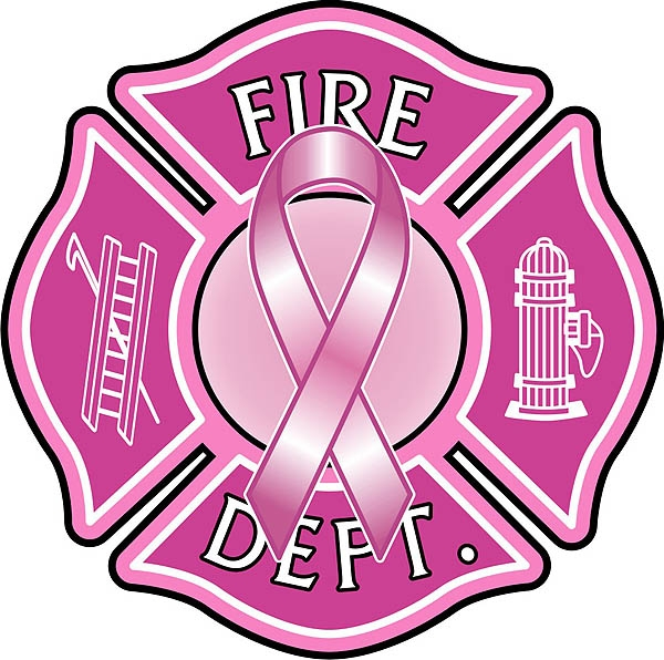 Fire Dept Pink Ribbon Maltese Cross Reflective Decal