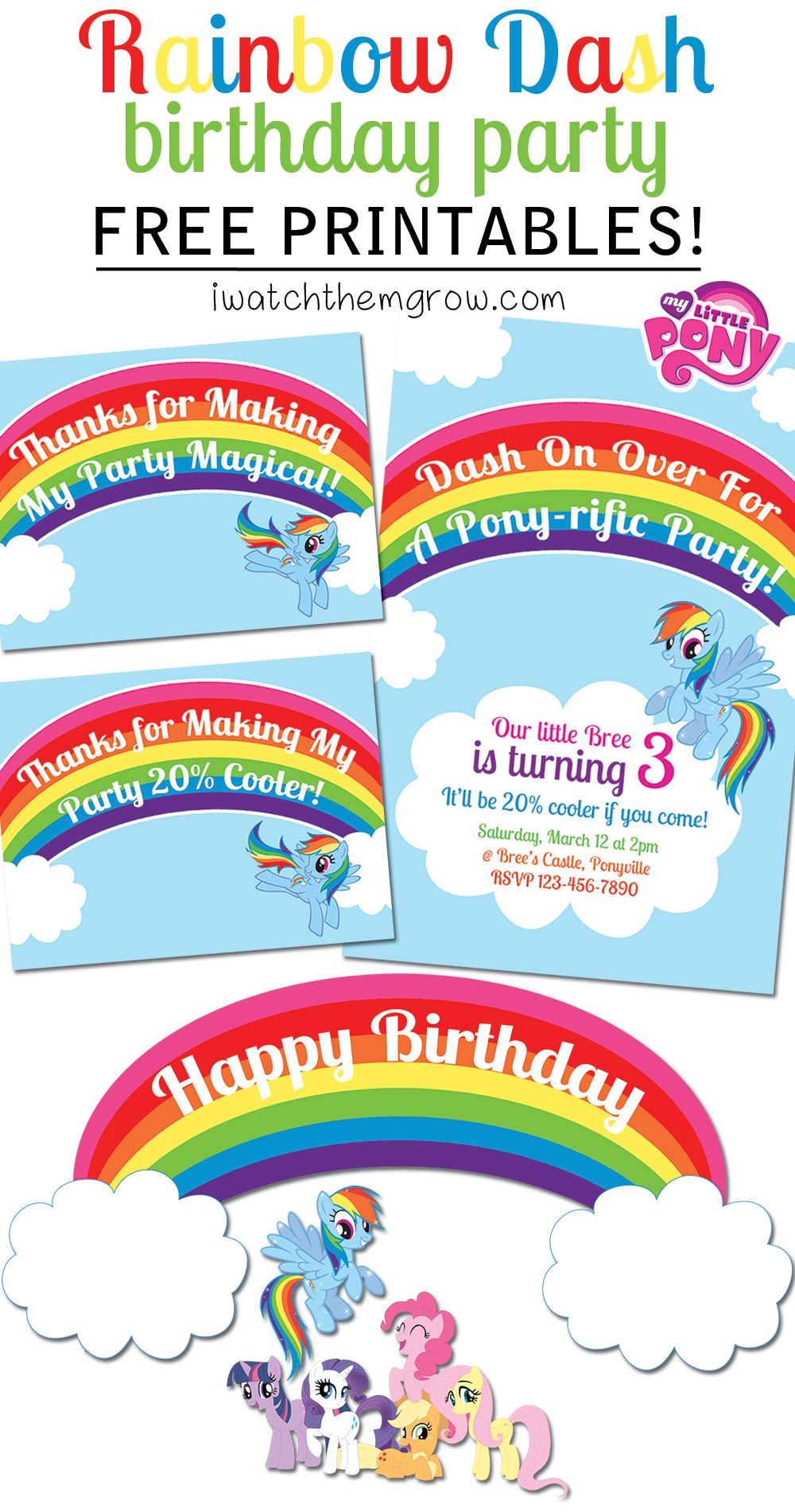 Rainbow free printable clipart best for Rainbow dash cake template