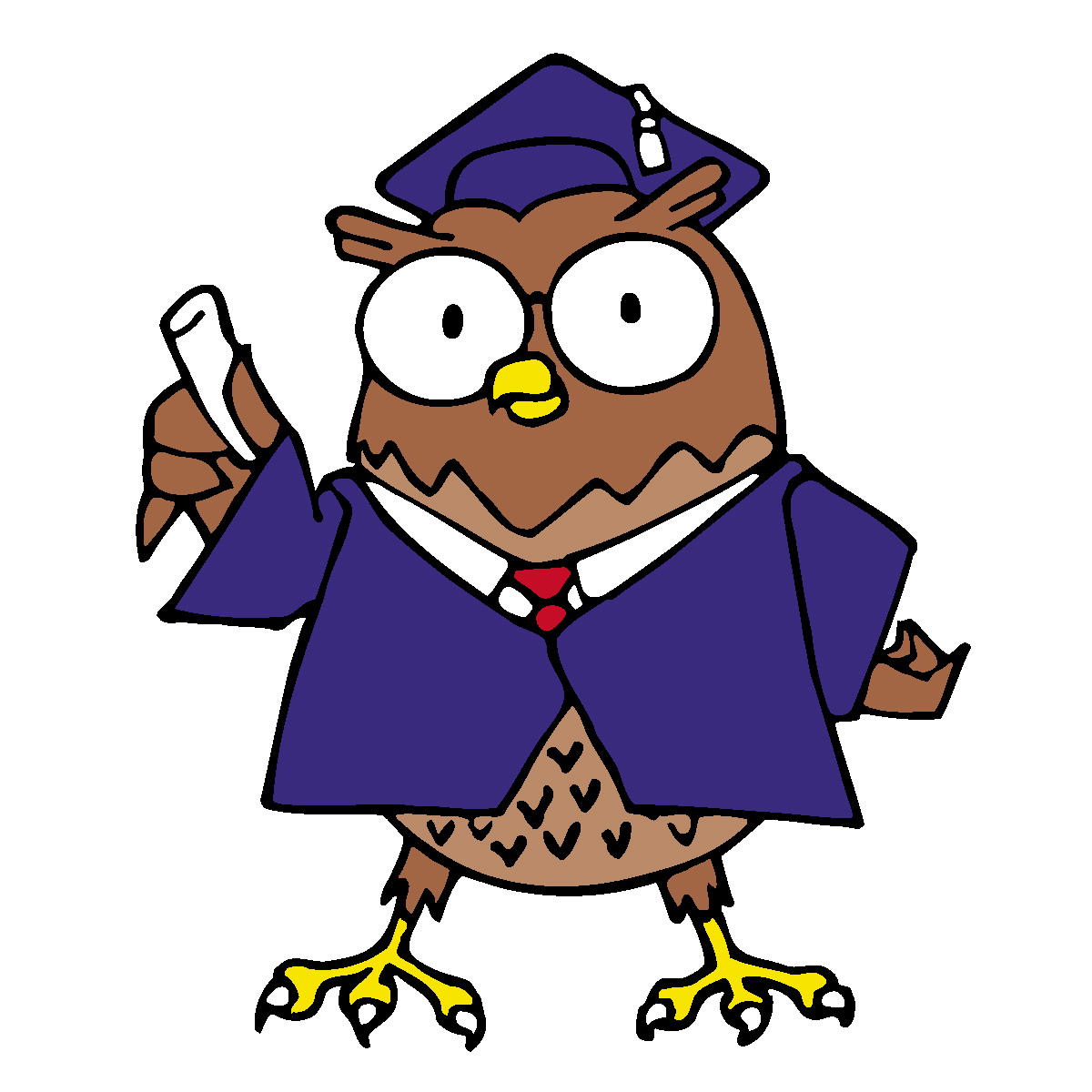 Clip Art: Cartoon Professor Owl Color