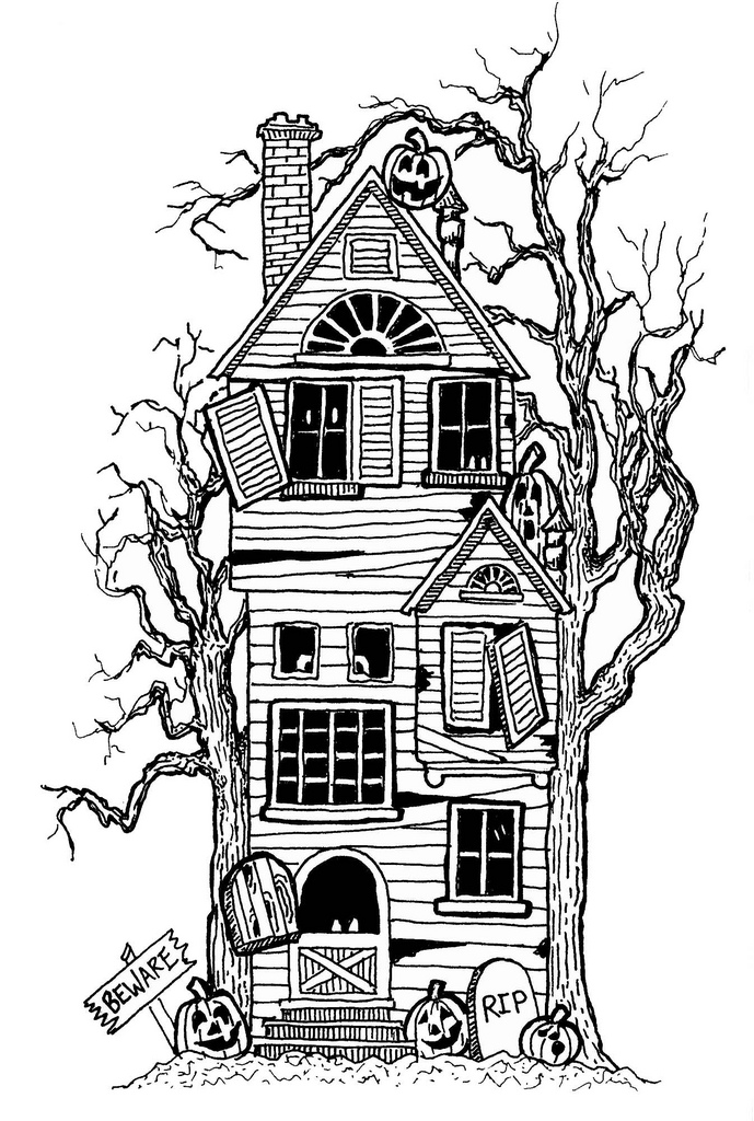 halloween coloring pages haunted house - haunted house drawing clipart best