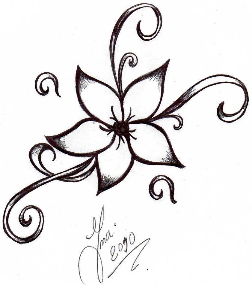 Basic Pretty Flower Sketch - ClipArt Best