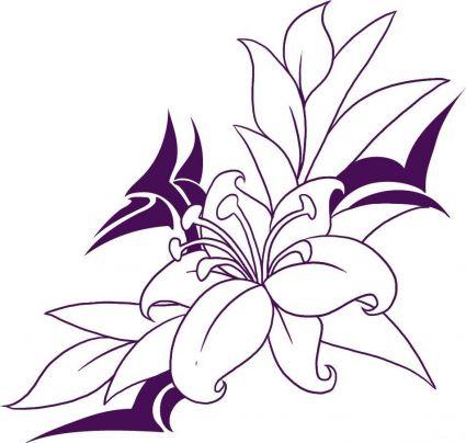 Violet flowers drawing