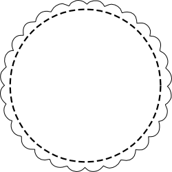 Black and white scalloped circle clipart