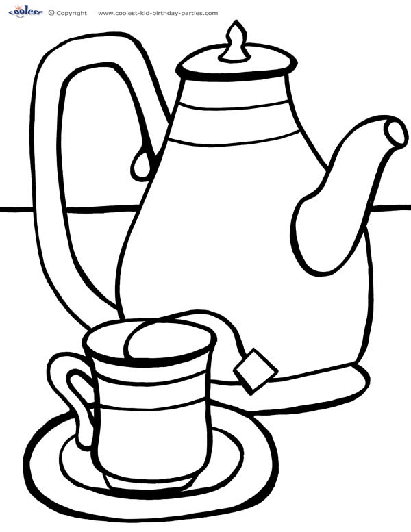 Teacup Coloring Page Clipart Best