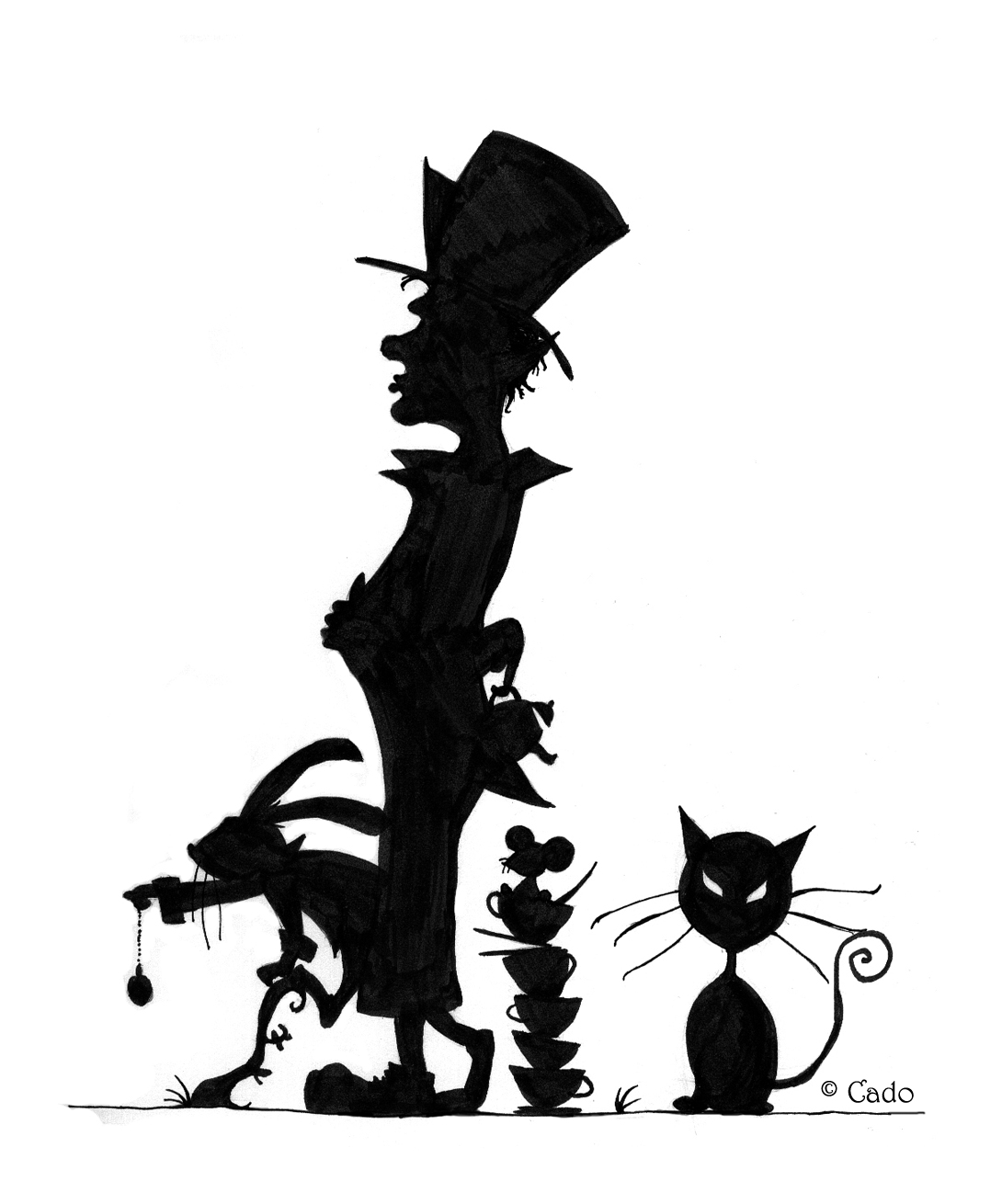 Alice In Wonderland Tea Silhouette Images & Pictures - Moyuk