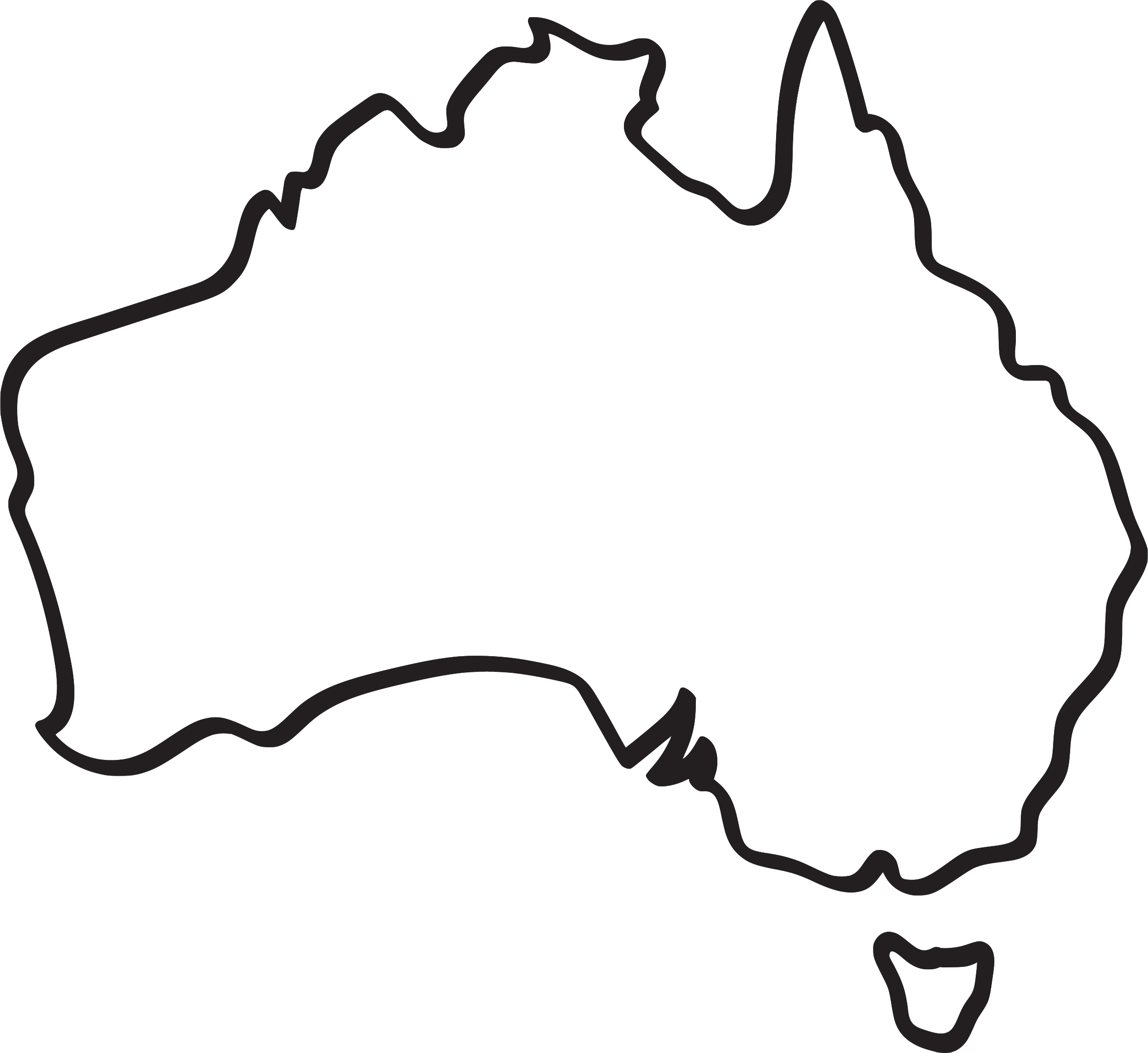 Line Drawing Map Of Australia : Australia outline clipart best