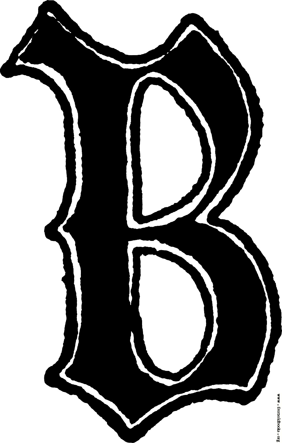 Calligraphic letter B in 15th century gothic style [image ...