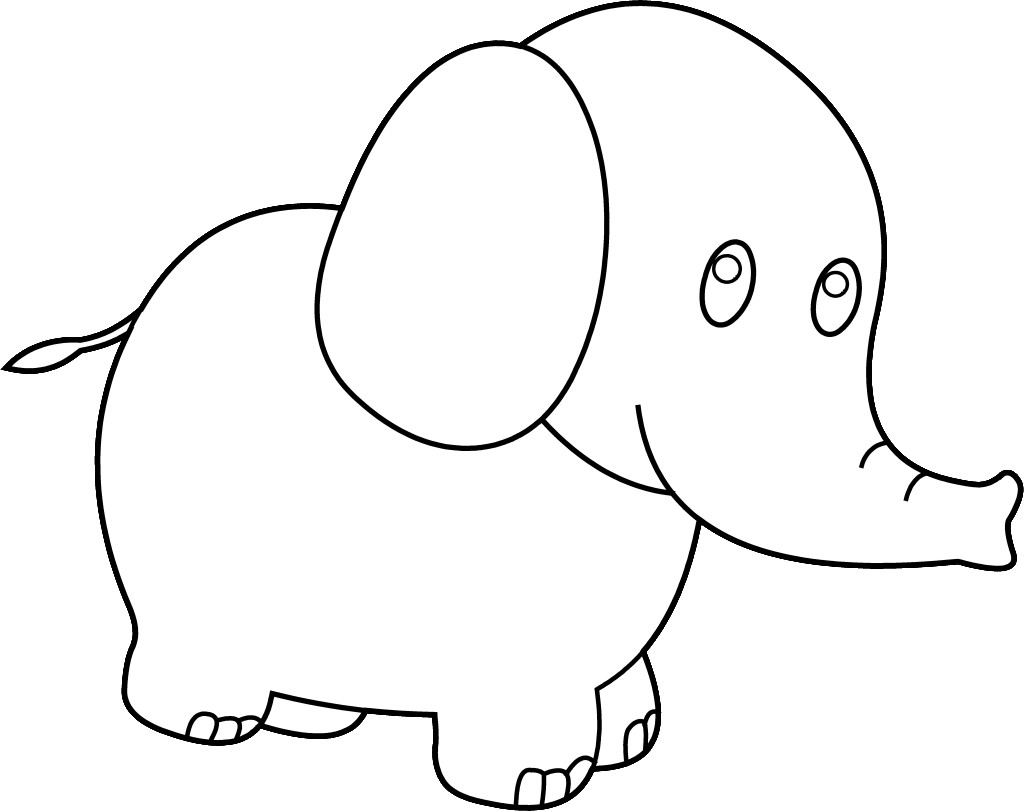 Elephant Clipart Black and White craft projects, Animals Clipart ...