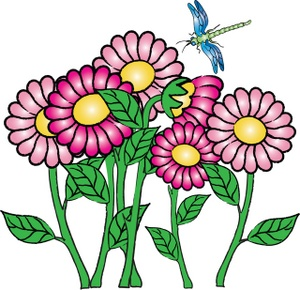 Flowers Clipart Image - Pretty Flowers with a Dragonfly