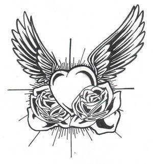 hearts with wings coloring pages clipart best. Black Bedroom Furniture Sets. Home Design Ideas