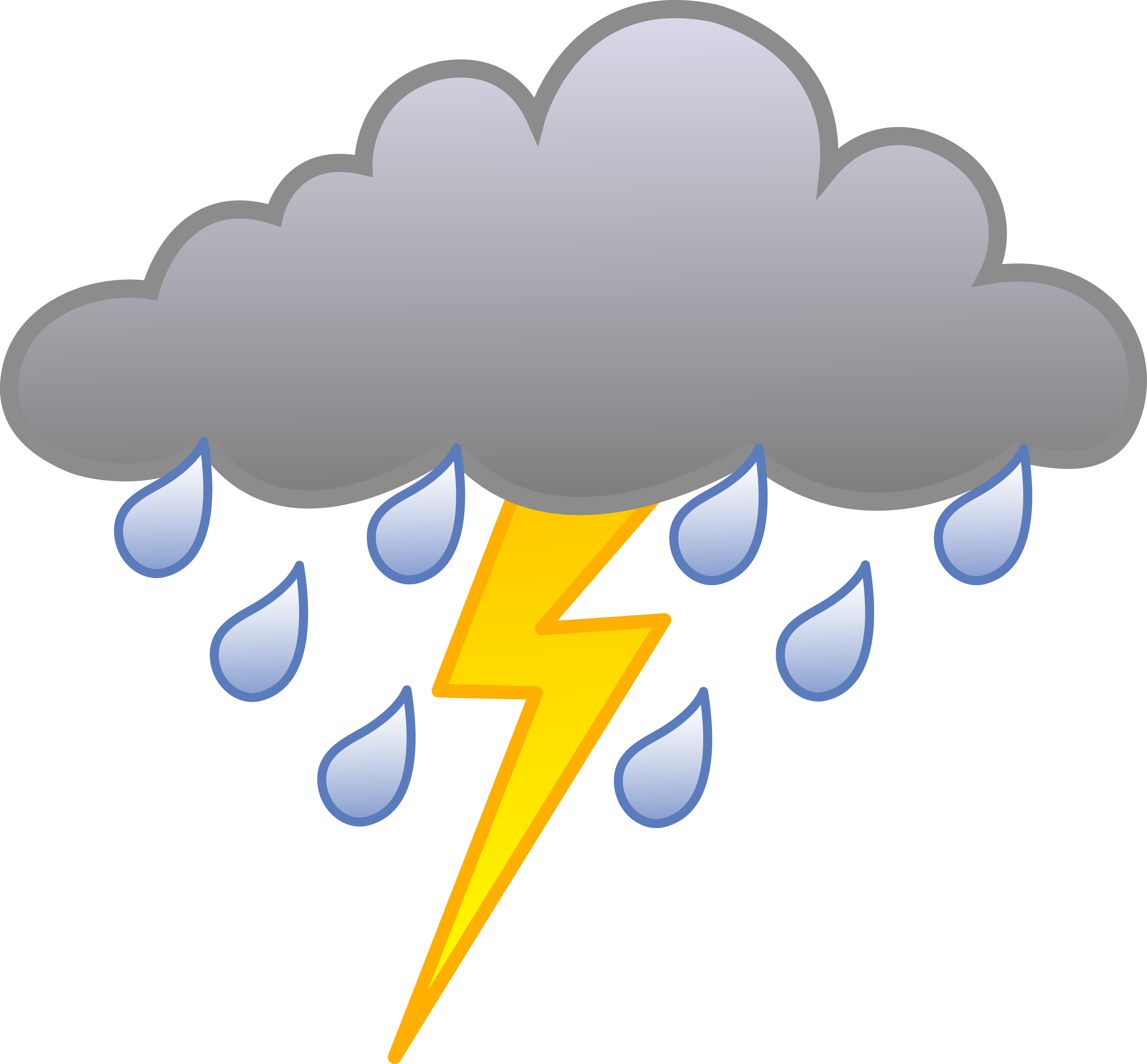 Meteorological Symbols For Thunder And Rain Clipart Best