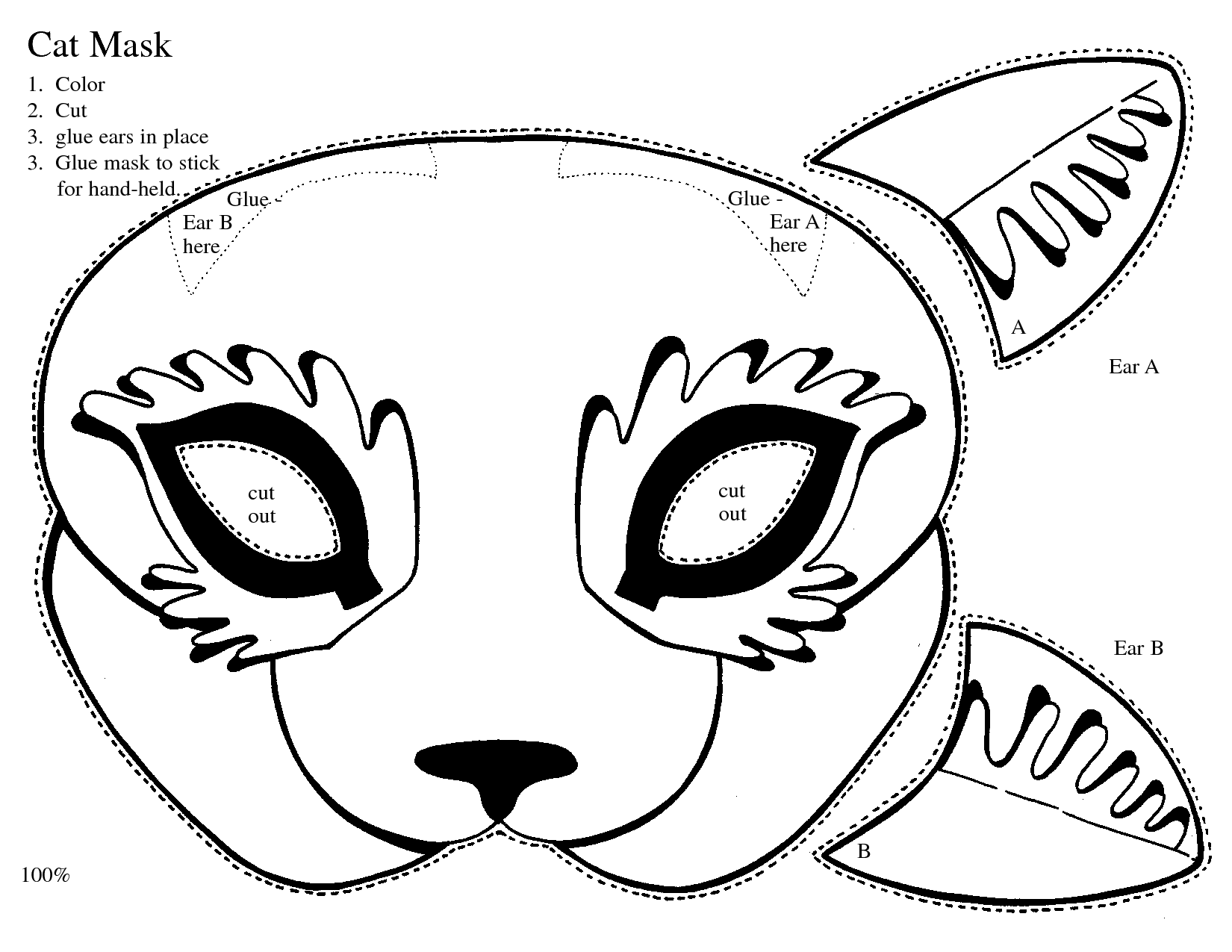 Print Out Kitty Masks ClipArt