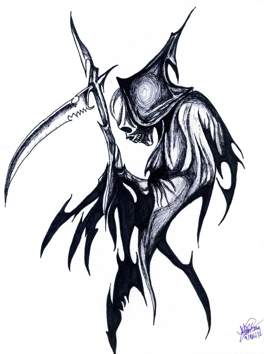 Tribal Death Tattoo: Grim Reaper Tribal