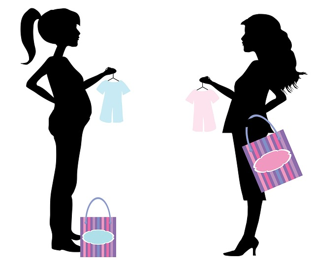 Cute Pregnant Woman Silhouette Clipart