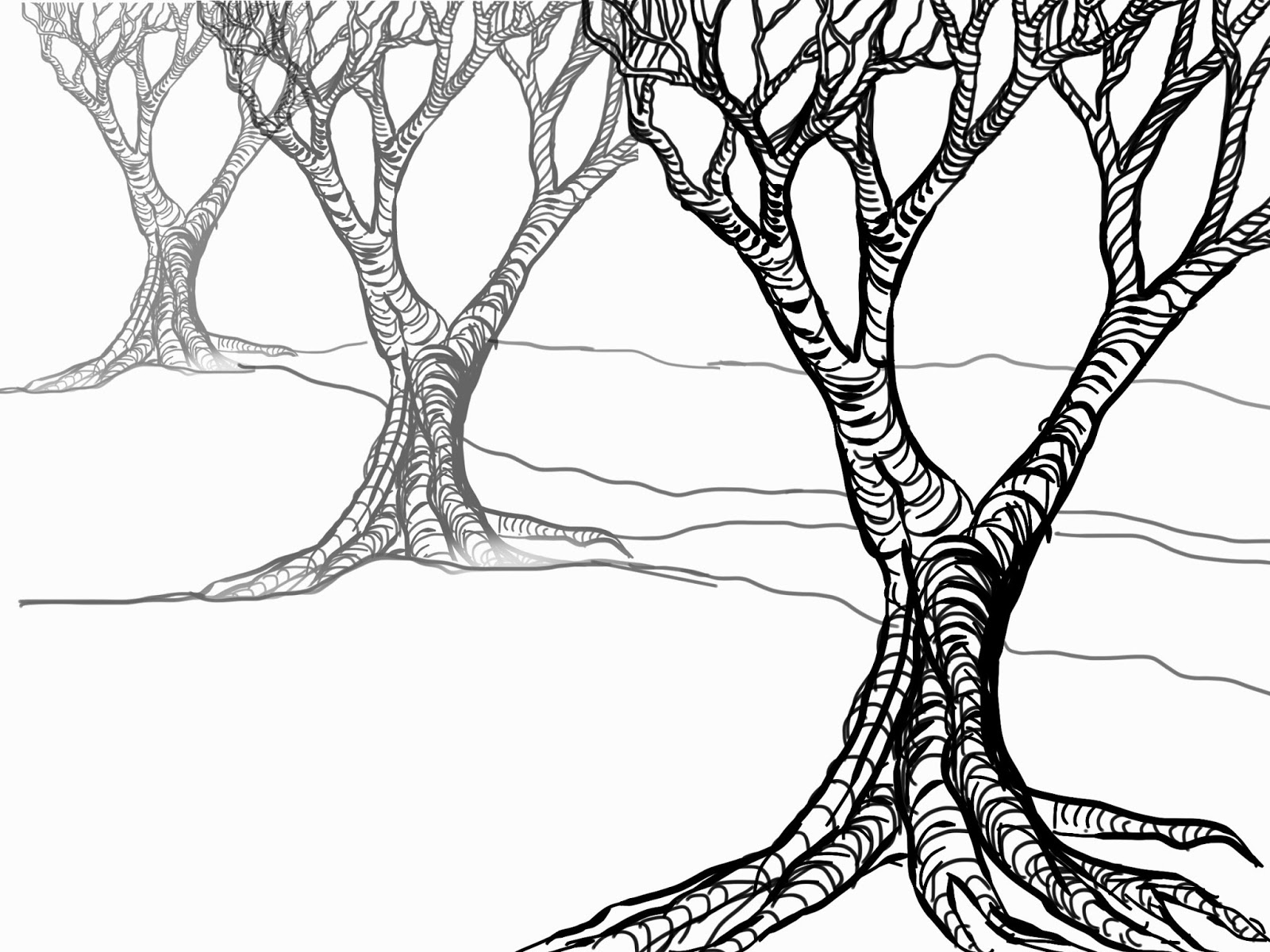 Simple Line Art Background : How to draw a tree without leaves clipart best