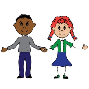 Boy And Girl Clipart Image - Cartoon stick figure boy and girl ...
