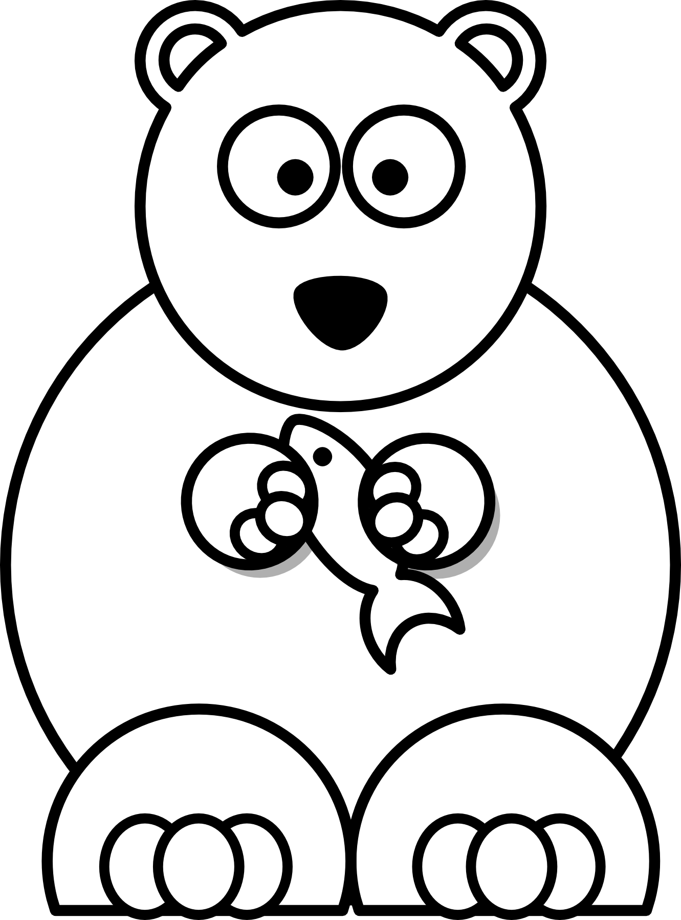 christmas bear clipart black and white