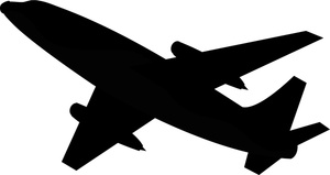Airplane Clipart Image - Commercial Airliner or Airplane Silhouette