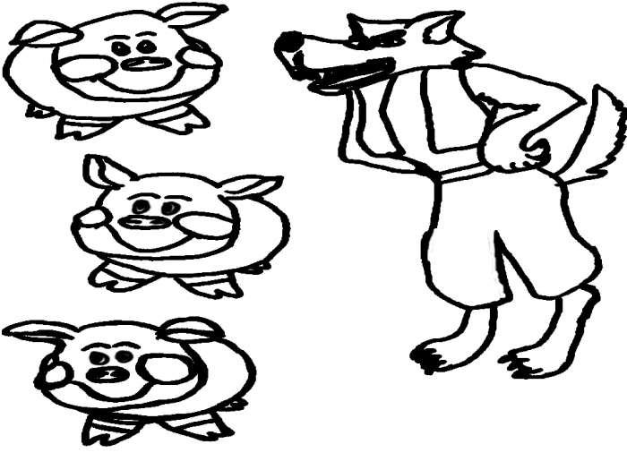 Big Bad Wolf Coloring Page Coloring Pages Kids Collection Clipart Best Clipart Best