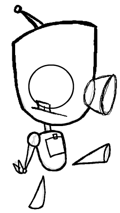 how to draw invader zim gir robot