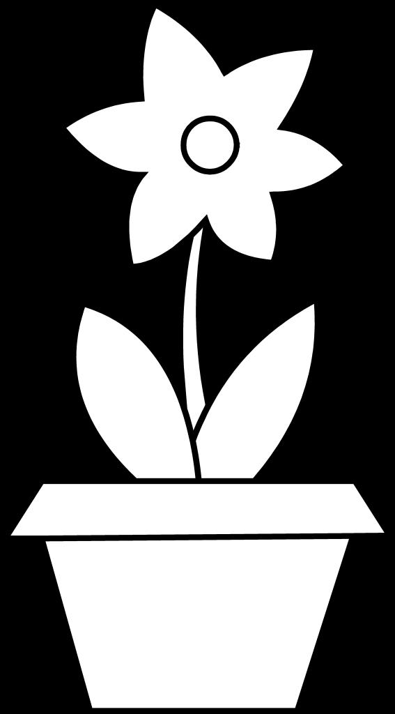 Горшок с цветком раскраска для детей