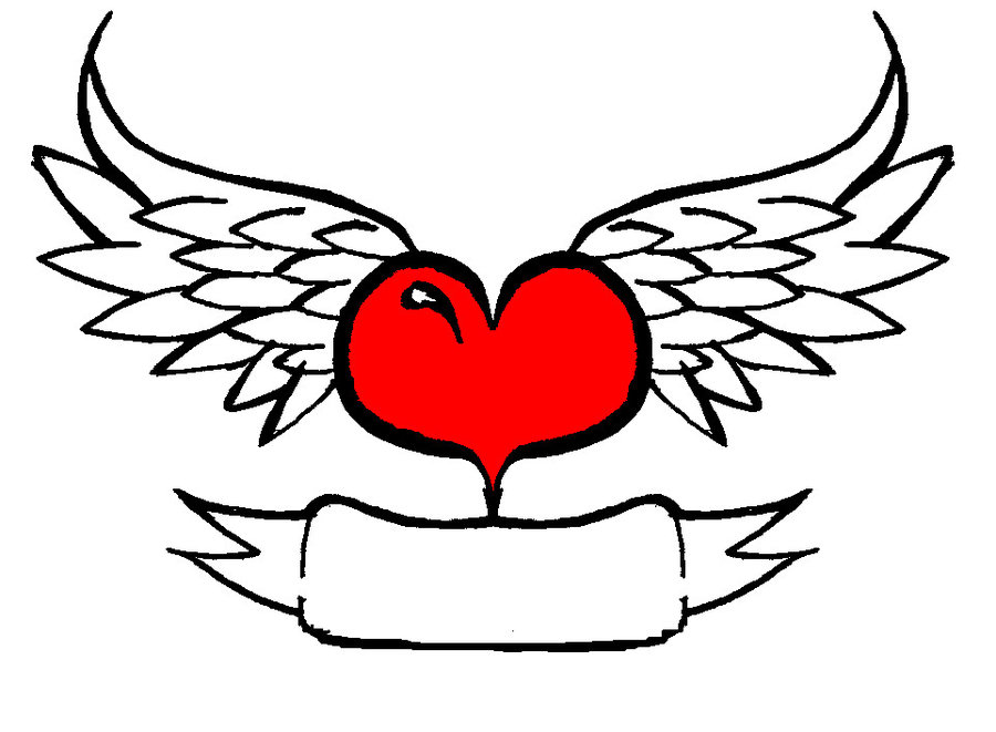 Line Drawing Wings : Line drawing heart with wings clipart best