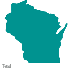 Custom Wisconsin state shaped stickers and decals
