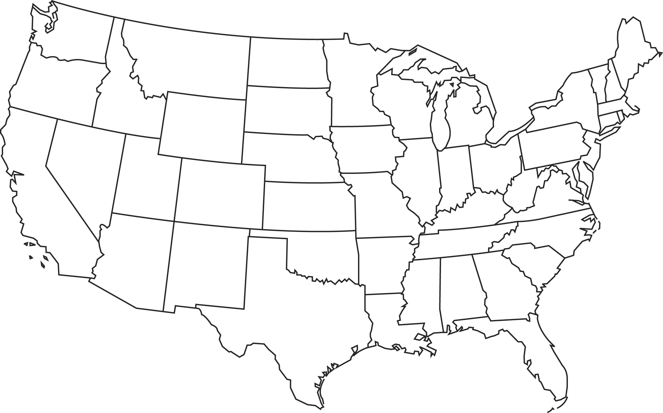 Big Blank Map Of Usa