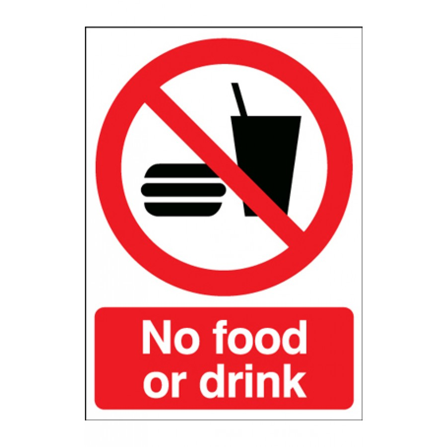 A4 No Food Or Drink Sign
