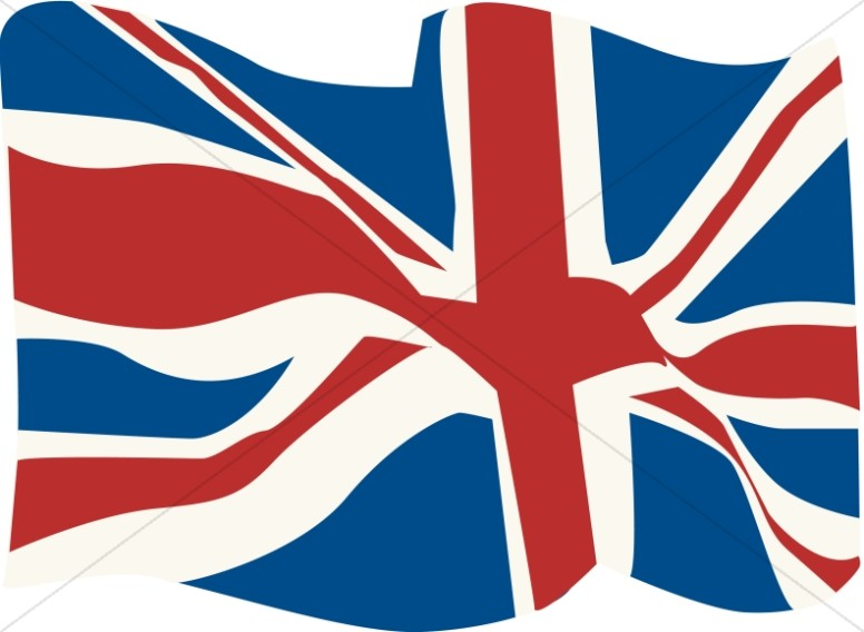 British Flag in the WInd | Veteran's Day Clipart