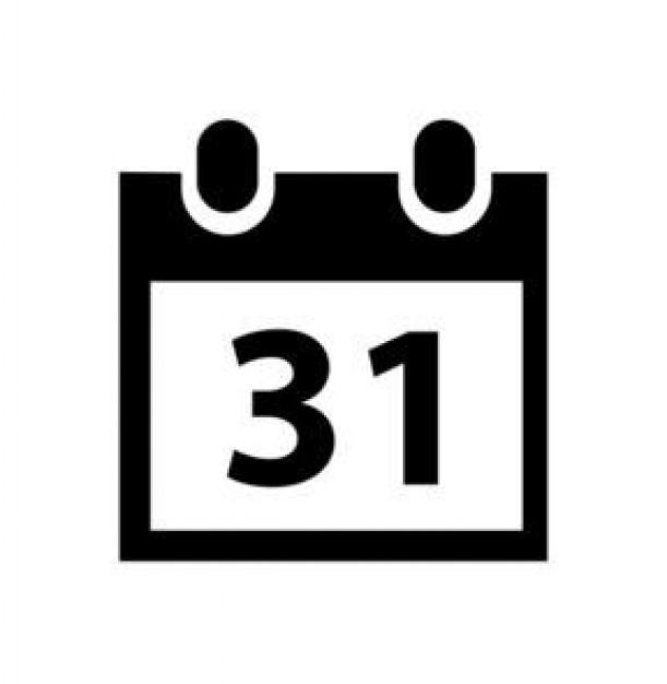 Calendar Date Vector Calendar 31th Vector Icon
