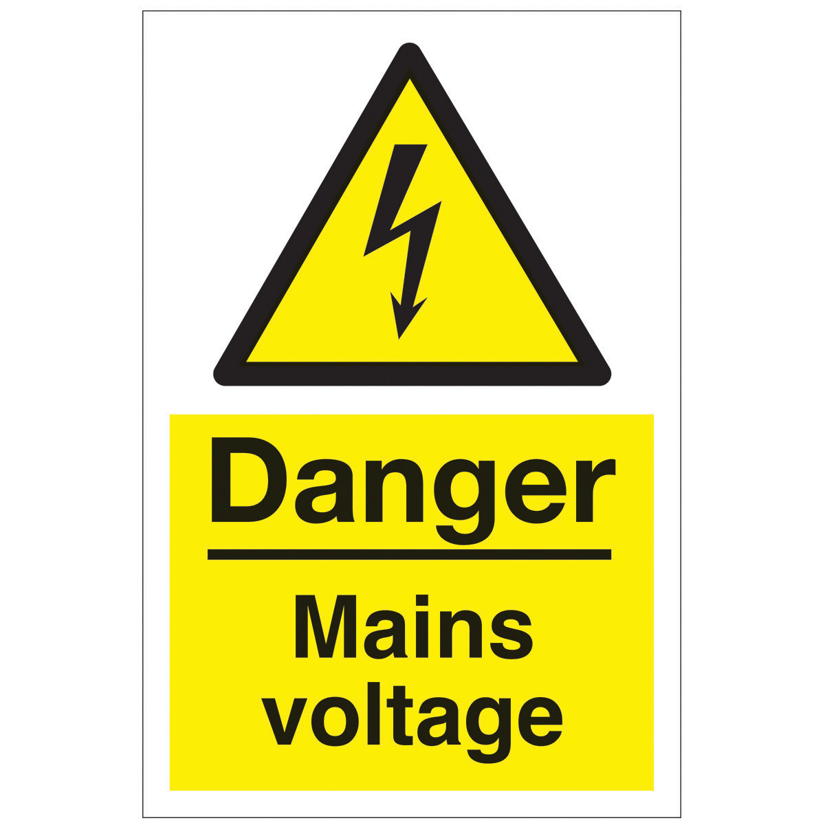 Danger Mains Voltage Safety Sign - Hazard & Warning Sign ...