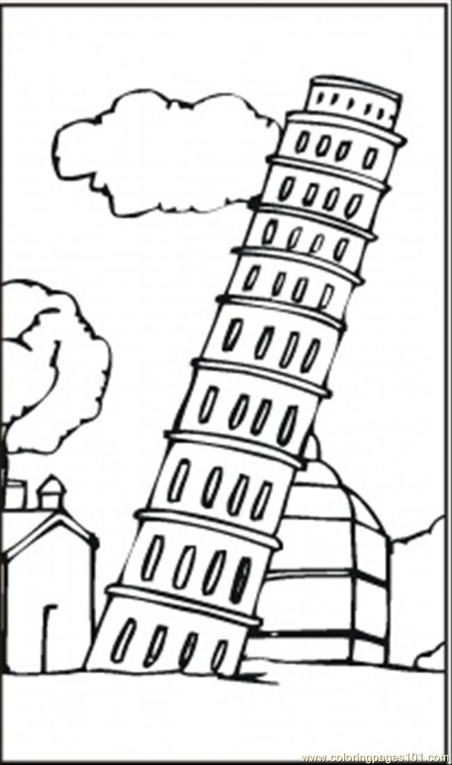 Coloring Pages Leaning Tower Of Pisa (Architecture > Sightseeing ...