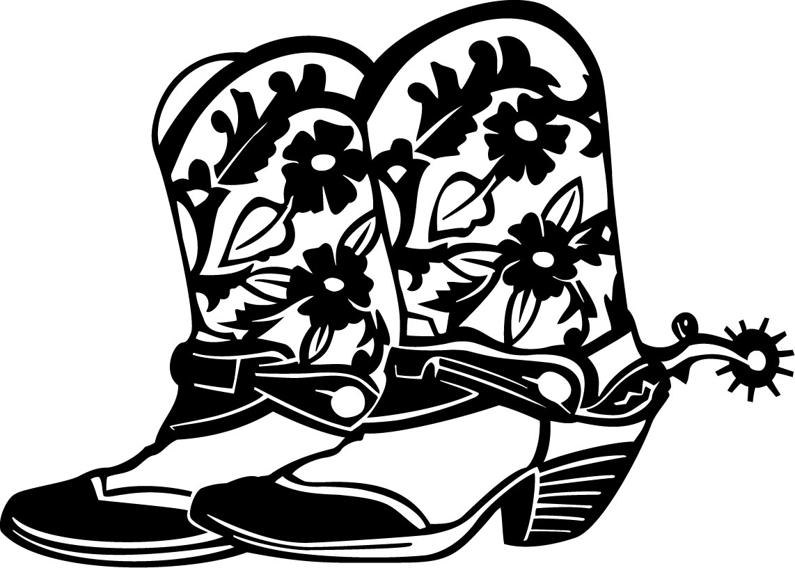 Cowboy Floral Boots Custom Wall Graphics Clipart Best
