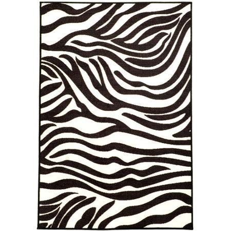 Ottomanson Pink White Black Animal Print Zebra Area Rug