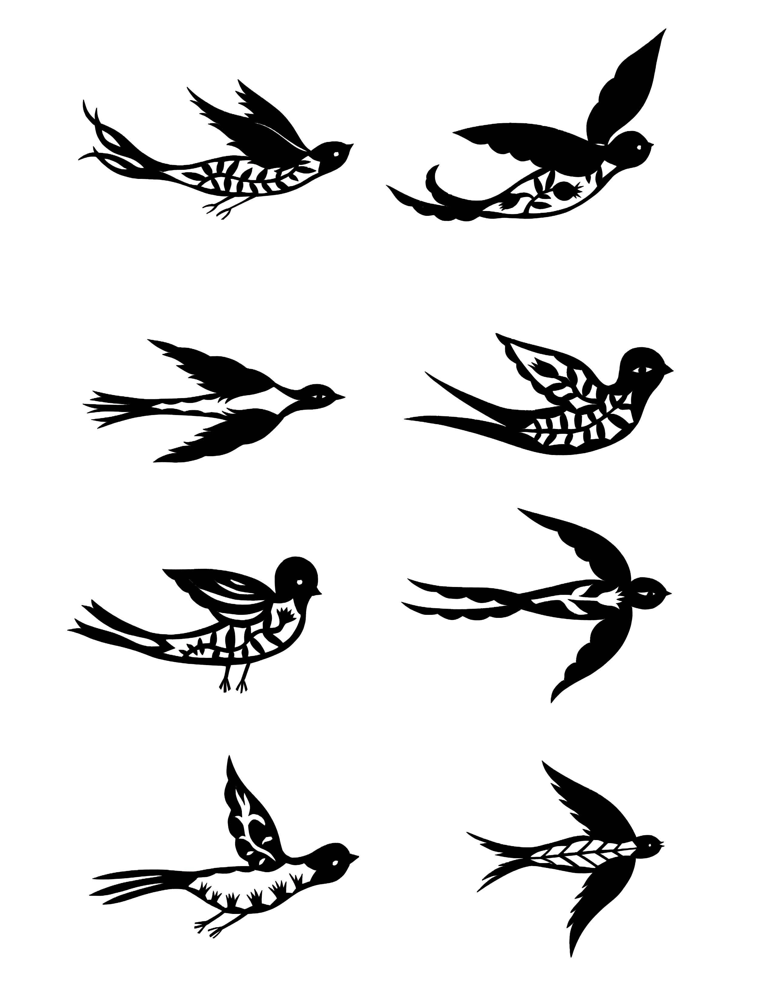 Нарисовать маленьких птичек тату