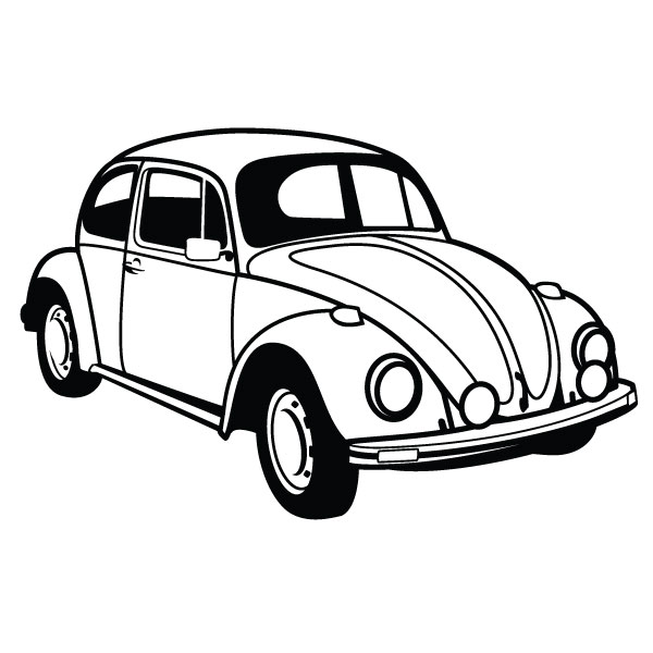Bug Car Black And White Clipart