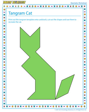 Tangram Cat – Geometry Worksheet Free Printable – Math Blaster