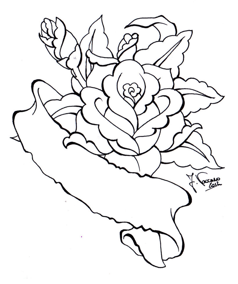 Line Drawing Rose Tattoo : Rose line drawing clipart best