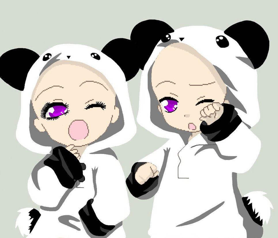 Chibi panda couple