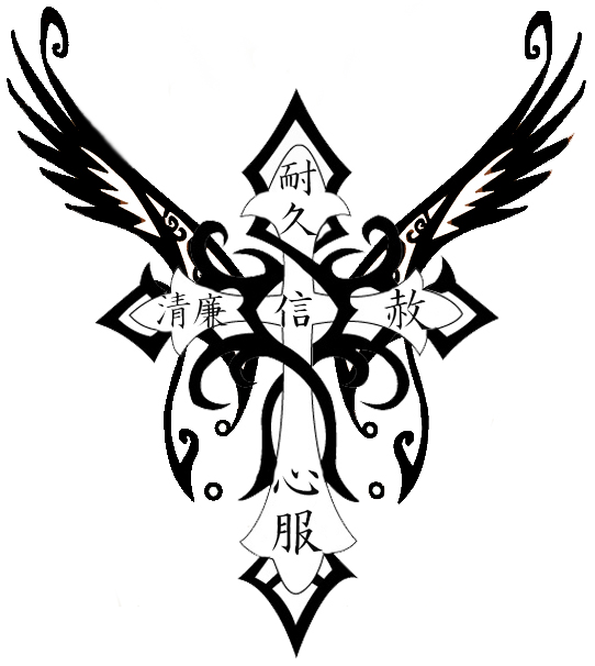Black Tribal Wings Cross Tattoo Design | wallpapershop ...