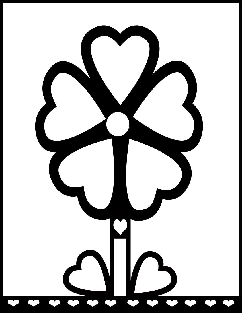 printable pictures of flowers flowers coloring pages kids - Coloring Pages Flowers Hearts