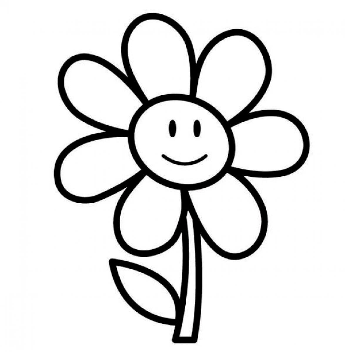easy flower coloring pages flower drawing easy clipart best