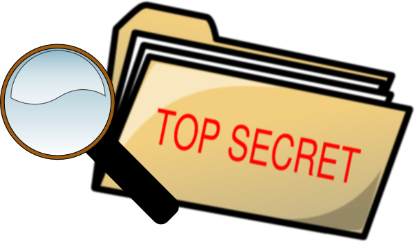 Top Secret Folder And Magnifying Glass clip art - vector clip art ...