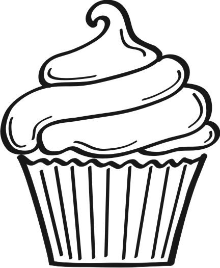 Line Drawing Cake : Cupcake graphic file clipart best