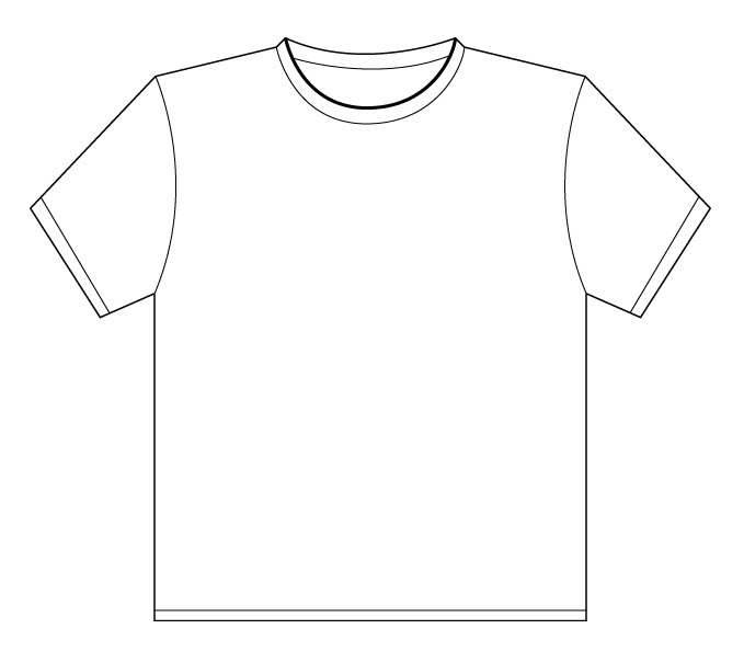 Line Art T Shirt Design : T shirt drawing template clipart best