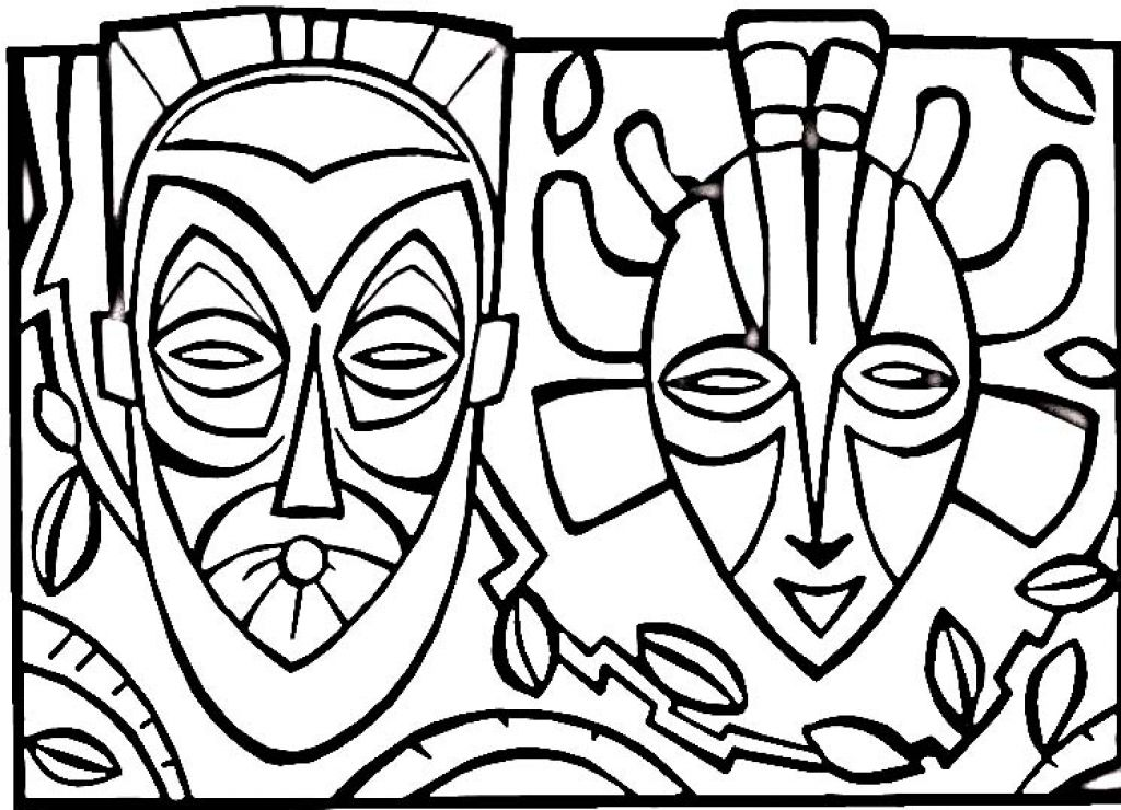 African Masks Drawings African Mask Coloring Page